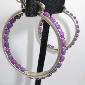 Jewelry - Vintage Sterling Gemstone Inside Out Hoops